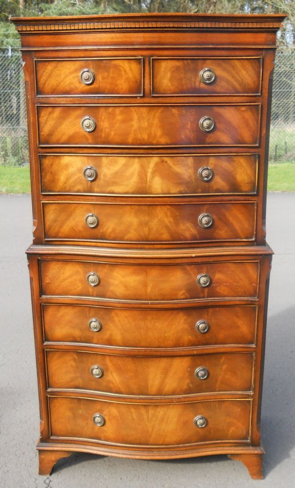 Flame Mahogany Serpentine Front Chest on Chest
